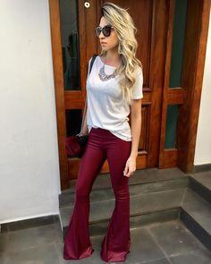 """59 Likes, 9 Comments - DIVA FEMME♕ (@divafemme) on Instagram: """"Look lindo de viver!!!!✨✨ Com a nossa Tshirt fio + Flare de cirrê vinho! ❤ AMEIII essa combinação!…"""""""