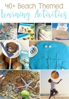 40 Beach Themed Learning Activities For Kids: Math, Science, Literature, Art & Crafts, and Sensory. Great ideas for a Beach Unit Study. Ocean Activities, Preschool Learning Activities, Summer Activities For Kids, Hands On Activities, Preschool Activities, Preschool Kindergarten, Beach Theme Preschool, Ocean Games, Infant Activities