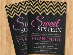 Sweet 16 birthday invitation. Sweet sixteen elegant glitter birthady party invite. Pink, Purple, Blue, any color. Printable digital. by arthomer on Etsy https://www.etsy.com/listing/180352356/sweet-16-birthday-invitation-sweet