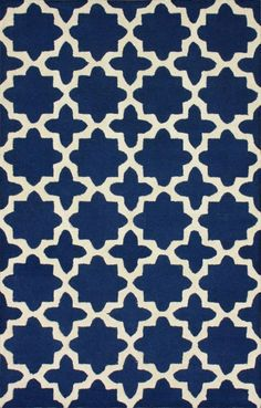 $5 Off when you share! Tuscan Terali Moroccan Trellis Navy Rug | Contemporary Rugs #RugsUSA