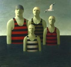 'The Bathers' oils on canvas painted by George Underwood