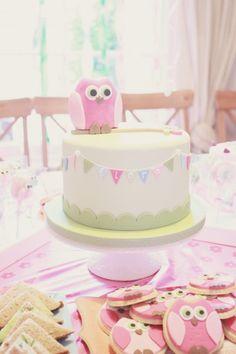pink green blue owl birthday cake