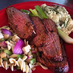 Grilled Santa Maria Beef Loin Tri-Tip and Homemade Salads-Southern Dill Potato and Italian Mozzarella Pasta