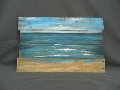 Handpainted Beach Scene, Seascape horizon, ocean and sky, Distressed, Reclaimed Wood Pallet Art, Rustic & Shabby Chic,  upcycled wood