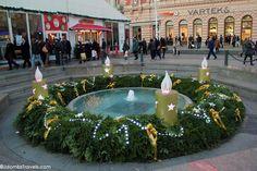 The Zagreb Christmas Market sets up on Trg Ban Jelačić, or Ban Jelacic Square. #EuropeanChristmasMarkets #Zagreb #Travel
