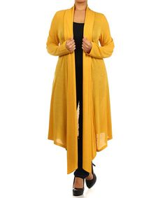 Look what I found on #zulily! Mustard Long Open Cardigan - Plus by Pretty Young Thing #zulilyfinds