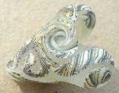 Primitive handmade Lampwork Glass bead heart focal by Genea