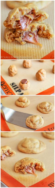 Super soft and thick peanut butter cookies stuffed with gooey caramel. These cookies are irresistible!