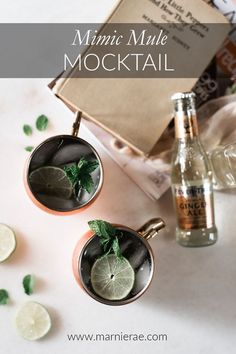 This Mimic Mule recipe is an easy mocktail. Made with lime juice, mint leaves, simple syrup and Ginger beer, its a fun addition to any party menu. Serve in Moscow Mule mugs and garnish with lime to put this nonalcoholic drink over the top. Best Mocktail Recipe, Easy Mocktail Recipes, Summer Drink Recipes, Cocktail Recipes, Winter Drinks, Holiday Drinks, Low Sugar Drinks, Non Alcoholic Cocktails, Fun Cocktails