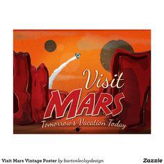 Visit Mars Vintage Poster Postcard