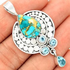 Copper Blue Turquoise 925 Sterling Silver Pendant Jewelry SP196323 #XTREMEGEMS