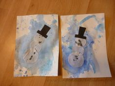 Age: from years Special support: fine motor skills Today we painted snowflakes and snowmen. Easy Crafts For Kids, Easy Paintings, Fine Motor Skills, Snowflakes, Snowman, Age, Inspiration, 5 Years, Watercolors