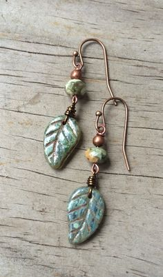 Green Boho Leaf Earrings, Green Jewelry, Nature Earrings by Lammergeier on Etsy https://www.etsy.com/listing/184489732/green-boho-leaf-earrings-green-jewelry