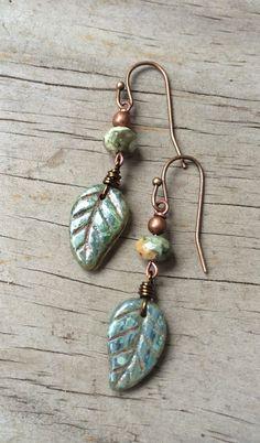 Green Boho Leaf Earrings, Green Jewelry, Nature Earrings by Lammergeier on Etsy https://www.etsy.com/listing/184489732/green-boho-leaf-earrings-green-jewelry