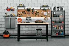 Benches that have built-in tool drawers can be pricey. Instead, flank a simple worktable with shelves and add pegboard above to hold your gear. Add a set of casters to make it mobile. Shown here: Husky via homedepot.com