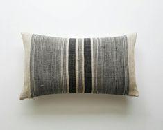 Black Stripe Hmong Pillow Homespun Minimalist Pillow Cover | Etsy