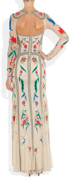 Temperley London. Eliah Embroidered Tulle Dress in Beige