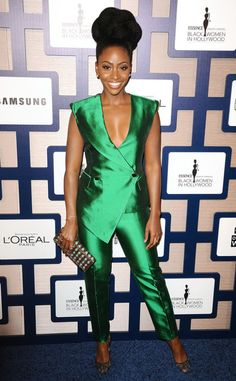 Teyonah Parris at the 8th Annual ESSENCE Black Women In Hollywood Luncheon looks amazing in a Kimberly Golsonsuit & Deepa Gurnani clutch!