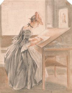"""A Lady Copying at a Drawing Table, ca. 1765, by Paul Sandby    Red and black chalk and stump on medium, cream, moderately textured wove paper    Yale Center for British Art, Paul Mellon Collection"""