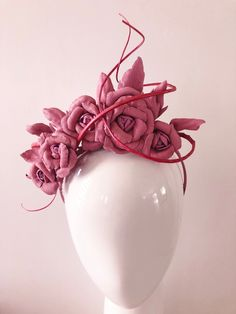 Five perfectly hand crafted dusty pink leather roses with custom dued spines intertwine for a truly classic piece.  Secured on a headband. Available in more colours.  Hat Shape: Headband Colour: Pink Features/Construction: Flowers, Leather, Spring/Summer, Autumn/Winter Condition: New Price: 219 AUD  Milliner: Marjoribanks Millinery Item Location: Australia Dusty Pink, Pink Purple, Race Day Outfits, Race Wear, Spring Racing, Millinery Hats, Flower Hats, Pink Leather, Fascinator
