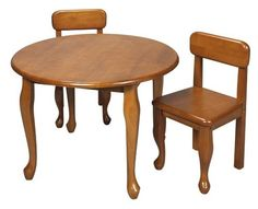 """3 Pc Kids Queen Anne Style Table & Chair Set - Honey Finish by Gift Mark. $173.66. Includes 1 round table and 2 chairs. Constructed of wood. Queen Anne style. Requires assembly. Seat height: 13"""". * Queen Anne style. Includes 1 round table and 2 chairs. Seat height: 13"""". Constructed of wood. Requires assembly. 28.5 in. W x 28.5 in. L x 4 in. H. Save 34% Off!"""
