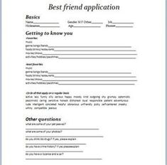 The best friend contract my best friend 3 pinterest image result for friend application form thecheapjerseys Choice Image