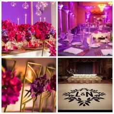 Wedding Reception Decor in the Sunset Ballroom. Purple up-lighting. White dance floor with monogram. Red accents in floral and maybe red candle holders. Tall gold candles too? Gold Chivari Chairs, Wedding Reception Decorations, Table Decorations, Red Candle Holders, Gold Candles, Sunset Wedding, Red Accents, Resorts, Centerpieces