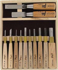 Set of 12 Wood Block Carving Tools     These I want.