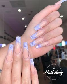 French Nail Designs, Ombre Nail Designs, Acrylic Nail Designs, Shiny Nails, Dope Nails, Purple Nails, Marble Acrylic Nails, French Tip Acrylic Nails, Acrylic Set