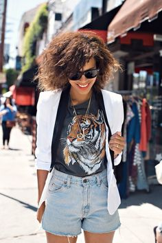 the white tuxedo blazer ootd - shop reverie blazer, levi's jean shorts, urban outfitters tee, modern vice boots