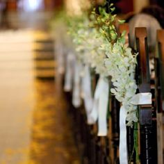 church pew flowers-with lavender instead Church Pew Flowers, Church Pew Wedding Decorations, Gazebo Decorations, Wedding Pews, Wedding Isles, Aisle Flowers, Rustic Wedding, Wedding Flowers, Wedding Church