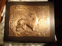 Beautiful vintage hammered copper medieval style wall plaque.original art by R.Fettich 1966