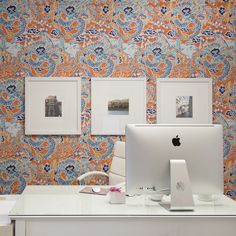 Paper Moon Painting office wallpapered in Thibaut Chinese-inspired wallcovering Wallpaper Gallery, Gallery Wall, Office Wallpaper, How To Install Wallpaper, Moon Painting, Paper Moon, Design Firms, Paper Design, Interior Design