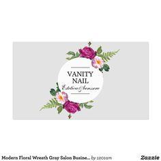 Modern Floral Wreath Gray Salon Business Card
