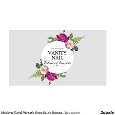 Modern Floral Wreath Gray Salon Business Card