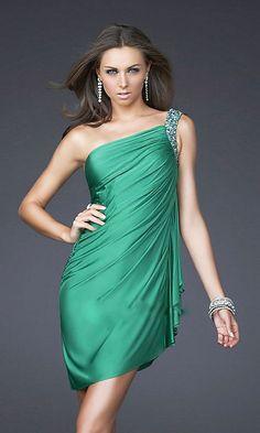 green short one shoulder dress