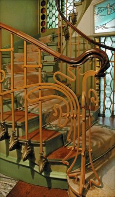 Art Nouveau Stairs at Castel Béranger, Paris - 1898 -  by Hector Guimard (French, 1867-1942) - @~Mlle