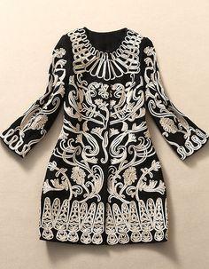 Black Embroidered Wool Coat Jacket
