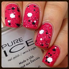 Sinful Colors Folly with Pure Ice What's the Splatter layered over and matte top coat