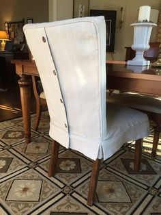Image result for tailored slipcover for dining chair