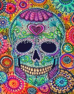 Sugar Skull Art | Day of the Dead SUGAR SKULL Folk Art Wicked Cool Flowers Primitive ...
