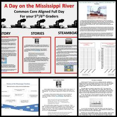 A full day of common core aligned, worthwhile activities on the history, stories, and steamboats of the Mississippi River.  Check the product preview to see every page included in this download.  From Subplanners.