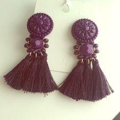 H&M Purple tassels earrings Pretty, bold tassel earrings . New, new worn H&M Jewelry Earrings