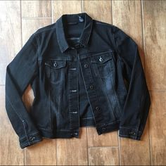 Black denim Jean jacket Great condition. Black denim with a little distressed coloring in places. Great accessory New York & Company Jackets & Coats Jean Jackets
