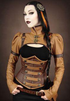 Restyle Steampunk ESERCITO pulsante MARRONE ECOPELLE stecche in acciaio Underbust corsetto in Clothes, Shoes & Accessories, Women's Clothing, Lingerie & Nightwear | eBay