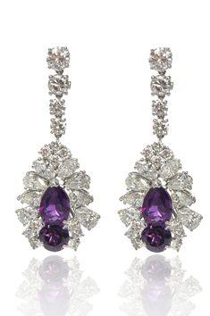 Platinum Diamond Amethyst Vintage-Inspired Drop Earrings