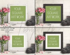 10x10 Square Ornate White Black Matted & Unmatted Frame on Table, Camera Tulips, 4 Print Display Mockups, PNG PSD PSE Custom colors, 25x25cm