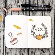 Bullet journal monthly cover page,  October spread,  autumn drawing.  @paperlemons