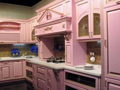 Photo about Pink kitchen interior and furniture. Image of house, domestic, furniture - 13433680 Pink Kitchen Interior, Pink Kitchen Decor, Pastel Kitchen, Flat Interior, Interior Doors, Two Tone Kitchen Cabinets, Built In Cabinets, Kitchen Doors, Kitchen Reno