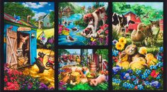 Down on the Country Farm Cows Ducks Pigs Horses Dogs Cats Cotton Quilting Fabric Panel - jrs fabrics Bottlebrush, Horses And Dogs, Modes4u, West Texas, Down On The Farm, Robert Kaufman, Cotton Quilting Fabric, Farm Yard, Country Farm